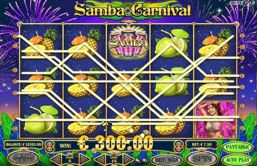 Выигрышные комбинации символов игрового автомата Samba Carnival