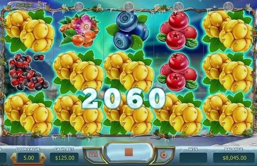 Выигрышная комбинация в игровом автомате Winterberries