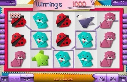 Выигрыш на линии в онлайн автомате Origami
